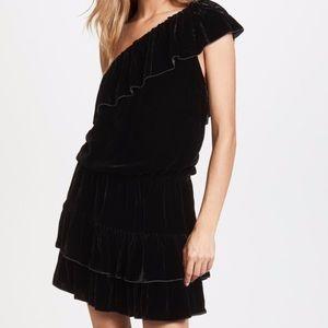 Joie Dress Black Velvet Kolda One Shoulder Mini